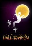 Halloween-Hintergrund mit dem Mondschein Stockfotos