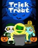 Halloween-Hintergrund mit der Kindertrick oder -behandlung Stockfoto