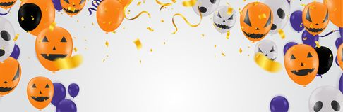 Halloween-Hintergrund mit Halloween-Geist-Ballonen Furchtsamer Luft bal Lizenzfreie Stockfotografie