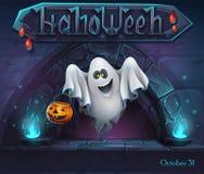 Halloween-Hintergrund mit Geist mit Kürbis Stock Abbildung