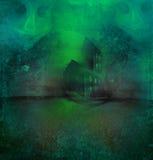 Halloween-Hintergrund mit Geisterhaus vektor abbildung