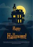 Halloween-Hintergrund mit gespenstischem Schloss Stockbild