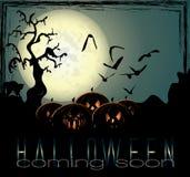 Halloween-Hintergrund mit gespenstischen Kürbisen Stockfotos