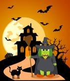 Halloween-Hintergrund mit Hexe Stockfotografie