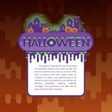 Halloween-Hintergrund mit Kürbis, Geisterhaus Flieger- oder Einladungsschablone für Halloween-Partei Stockfoto