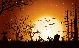 Halloween-Hintergrund mit Kürbisen stockfoto