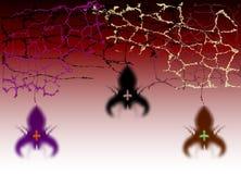 Halloween-Hintergrund mit Spinnen und Spinnennetzen lizenzfreie abbildung