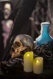 Halloween-Hintergrund mit vielen verschiedenen Hexereiwerkzeugen: s Lizenzfreies Stockbild