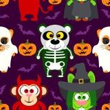 Halloween-Hintergrund nahtlos mit Tier in Halloween-Kostüm Stockfotos