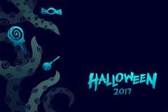Halloween-Hintergrund-Schablonensatz 2017, kraken Monstertentakeln Stockbild