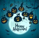 Halloween-Hintergrund von netten Kürbisen Stockfotos