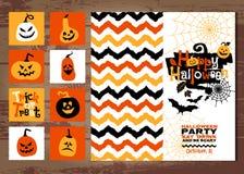 Halloween-Hintergrund von netten Kürbisen Abstrakter Hintergrund des Herbstes Stockbilder