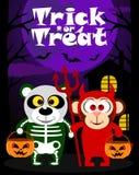 Halloween-Hintergrundtrick oder Behandlung mit Tier Stockfoto
