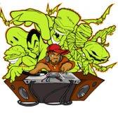Halloween hip hop club. Halloween DJ with Frankernstein, dracula, ghost, mummy, troll, monster, bats, pumpkin, jack-o-lantern Royalty Free Stock Photography