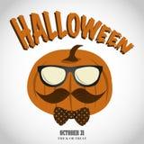 Halloween hipster pumpkin stock illustration