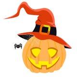 Halloween-hoed van de pompoen de vector rode heks klaar voor Halloween-partij eps vector illustratie