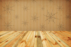 Halloween holiday background with empty wooden floor and wallpap Royalty Free Stock Photography