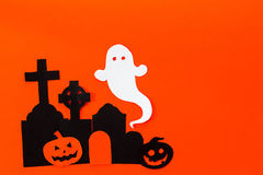 Halloween holiday background with headstone, tree, pumpkin and g Stock Photo