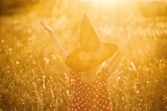 Halloween holiday background: little girl with a witch hat, view from the back, bright sun rays. Fabulous background to Halloween, free space stock photography