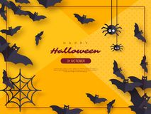 Free Halloween Holiday Background. Paper Cut Style Flying Bats And Spiders. Yellow Color Background With Frame And Greeting Stock Photo - 125838480