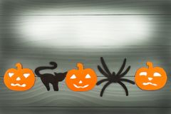 Halloween holiday background with pumpkins, cat, spider stock image