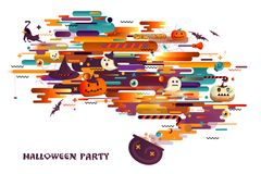 Halloween holiday background with pumpkins, spiders and skulls. Abstract background with orange, philately and black color. Of halloween. Lines, waves and Royalty Free Stock Image