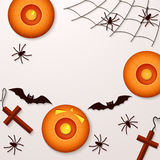 Halloween holiday background with spiders pumpkins and bats. Stock Images