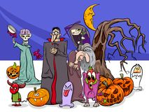 Halloween holiday cartoon funny characters group Stock Images