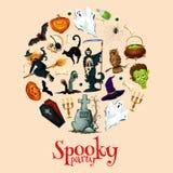 Halloween holiday cartoon horror in round sticker Royalty Free Stock Photos