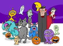 Halloween holiday cartoon monster characters group Royalty Free Stock Images