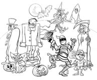 Halloween holiday cartoon spooky characters coloring book Stock Photo