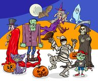 Halloween holiday cartoon spooky characters group Royalty Free Stock Image
