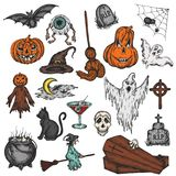 Halloween Holiday Colorful Cartoon Horror Set. Scary Halloween Ghost, Witch, Pumpkin, Witch, Spooky Eye Vector Royalty Free Stock Photos
