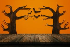 Halloween holiday concept. Empty wooden shelf. Royalty Free Stock Photos