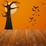 Halloween holiday concept. Empty wooden shelf. Royalty Free Stock Photo