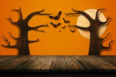 Halloween holiday concept. Empty wooden shelf. Stock Image
