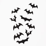 Halloween holiday concept. Handmade black bats on white background. Flat lay, top view. Royalty Free Stock Images