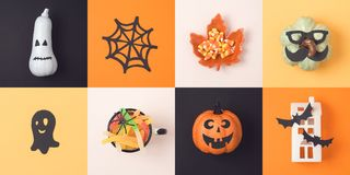 Halloween holiday concept with jack o lantern and decorations Royalty Free Stock Image