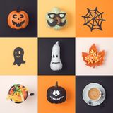 Halloween holiday concept with jack o lantern pumpkin and decora Stock Photography