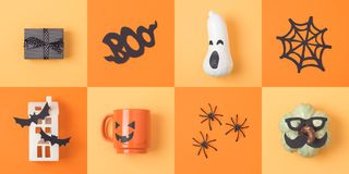 Halloween holiday concept with jack o lantern pumpkin and decora Royalty Free Stock Photo