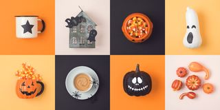 Halloween holiday concept with jack o lantern pumpkin and decora. Tions. View from above. Flat lay stock photos