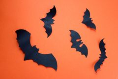 Halloween holiday concept with paper black bats. Bat ,Halloween, creature, autumn, background picture, , black, character,, schematic diagram, creepy, decor royalty free stock photo
