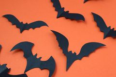 Halloween holiday concept with paper black bats. Halloween, creature, autumn, background picture, bats, black, character,, schematic diagram, creepy, decor royalty free stock photo