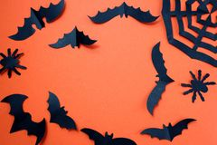 Halloween holiday concept with paper black bats. Halloween, creature, autumn, background picture, , black, character,, schematic diagram, creepy, decor stock images