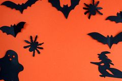 Halloween holiday concept with paper black bats, spider and ghosts. Bat ,Halloween, creature, autumn, background picture, , black, character,, schematic diagram royalty free stock image