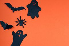 Halloween holiday concept with paper black bats, spider and ghosts. Bat ,Halloween, creature, autumn, background picture, , black, character,, schematic diagram stock photos