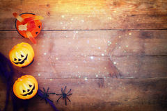 Halloween holiday concept top view. Pumpkins, spiders Royalty Free Stock Photography