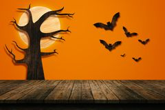 Halloween holiday concept. Empty wooden shelf. Royalty Free Stock Images