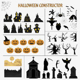 Halloween holiday constructor. Graphic template. Flat icons Royalty Free Stock Image