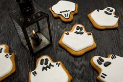 Halloween holiday cookies in the shape of ghosts. Royalty Free Stock Image